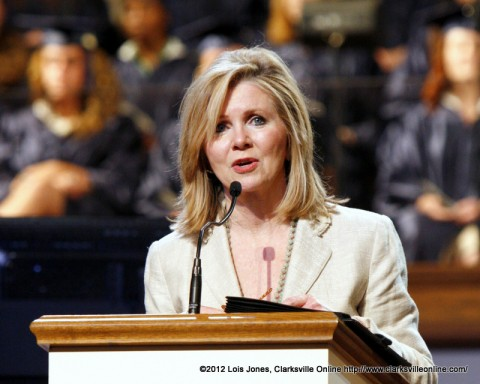 Congresswoman Marsha Blackburn addresses a graduating class