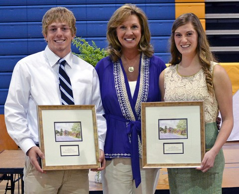 (L to R) Morgan Burman, Mr. CA, Kay Drew, Head of School, & Dawson Nicholson, Ms. CA. (Photo taken by Grace Allen, Graceful Designs Photography.)
