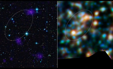 The Herschel Space Observatory has discovered a giant, galaxy-packed filament ablaze with billions of new stars. The filament connects two clusters of galaxies that, along with a third cluster, will smash together in several billion years and give rise to one of the largest galaxy superclusters in the universe. (Image credit: ESA/NASA/JPL-Caltech/CXC/McGill Univ.)