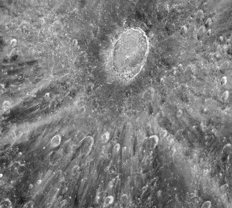 This mottled landscape showing the impact crater Tycho is among the most violent-looking places on our Moon. (Credit: NASA/ESA/D. Ehrenreich)