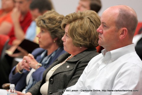 Montgomery County Attorney Austin Peay IV sits with Montgomery County Mayor Carolyn Bowers (Center) and Clarksville City Mayor Kim McMillan (Left)
