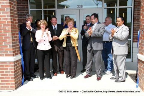 The VIP guests cut the ribbon opening the new facility