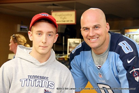 Tennessee Titan's Quarterback Matt Hasselbeck with a young Titan's Fan