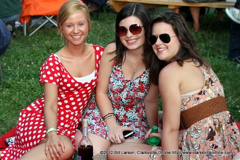 Three friends enjoy each others company at Jazz on the Lawn
