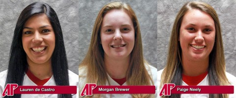 APSU's Lauren de Castro, Morgan Brewer and Paige Neely are All-OVC Softball Honorees.