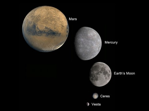 The giant asteroid Vesta is shown here as the smallest body among other similar bodies in the solar system: Mars, Mercury, Earth's moon and the dwarf planet Ceres. With Dawn's findings, Vesta is the only intact layered planetary building block with an iron core known to be remaining since the early days of the solar system. (Image credit: NASA/JPL-Caltech/UCLA)