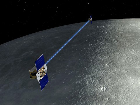 An artist's depiction of the twin spacecraft that comprise NASA's Gravity Recovery And Interior Laboratory (GRAIL) mission. During the GRAIL mission's science phase, spacecraft (Ebb and Flow) transmit radio signals precisely defining the distance between them as they orbit the moon in formation. (Image credit: NASA/JPL-Caltech/MIT)