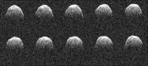 These series of radar images of asteroid 1999 RQ36 were obtained by NASA's Deep Space Network antenna in Goldstone, CA on Sept 23rd, 1999. (Image credit: NASA/JPL-Caltech)
