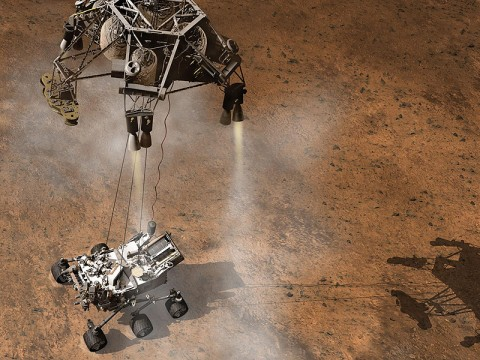 Curiosity, the big rover of This artist's concept depicts the moment that NASA's Curiosity rover touches down onto the Martian surface. (Image credit: NASA/JPL-Caltech)