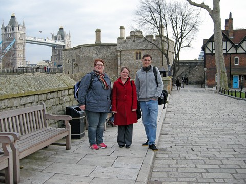 Dr. Jennifer Snyder, APSU assistant professor of art, Tina Rousselot de St. Ceran, coordinator of International Education at APSU and Dr. Daniel Shea, associate professor of Languages and Literature, visit the Tower of London on a recent study abroad trip.