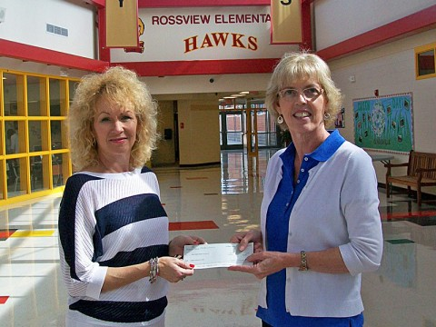 Planters Bank Vice President Stacey Wenzler (left) and Rossview Elementary School Principal Paula Ford.