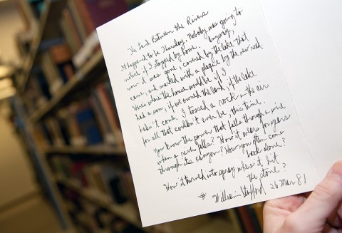 "An original, handwritten poem, ""The Land Between the Rivers,"" by the late poet William Stafford was recently discovered in the APSU Woodward Library. (Photo by Beth Liggett/APSU staff)"