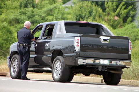 Lt Phil Ashby on a traffic stop. (Photo by CPD-Jim Knoll)