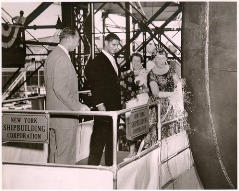 Christening, of the NS Savannah, Mrs. Mamie Eisenhower, sponsor, July 21, 1959. New York Shipbuilding Corporation, Camden, New Jersey.