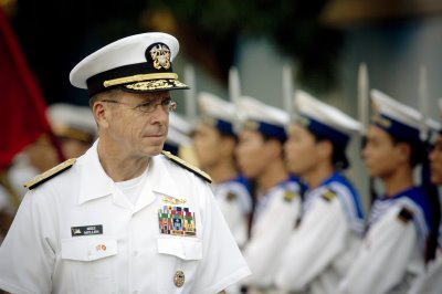 Adm. Michael Mullen, USN, Chairman of the Joint Chiefs of Staff, at the 2010 USMMA commencement.