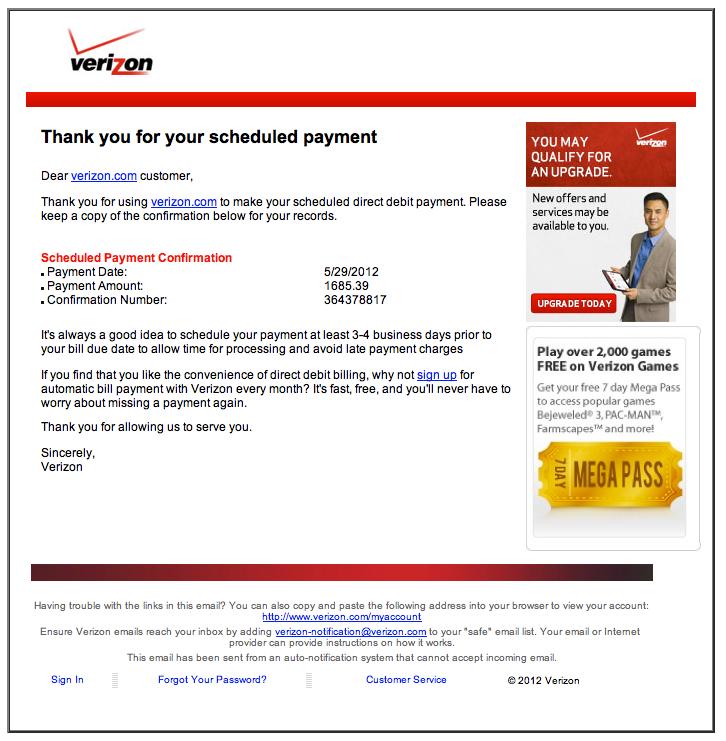 Fake Verizon Bill - Clarksville, TN Online