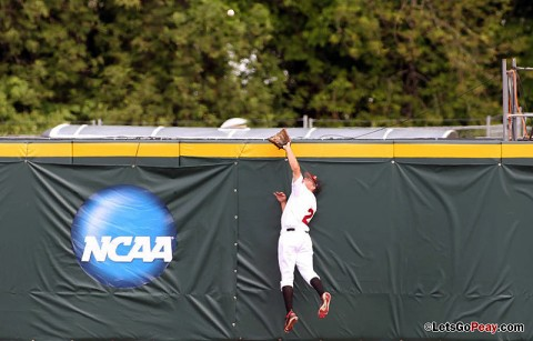 APSU Center fielder Michael Blanchard's leaping catch in the fourth kept a solo home run off the board in Austin Peay's 1-0 victory against Indiana State, Saturday. Austin Peay Baseball. (Courtesy: Austin Peay Sports Information)