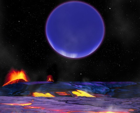 This artist's conception shows Kepler-36c as it might look from the surface of neighboring Kepler-36b. (Image credit: Harvard-Smithsonian Center for Astrophysics)