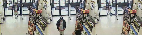Photos of the robbery suspect from the Big Lots security cameras.