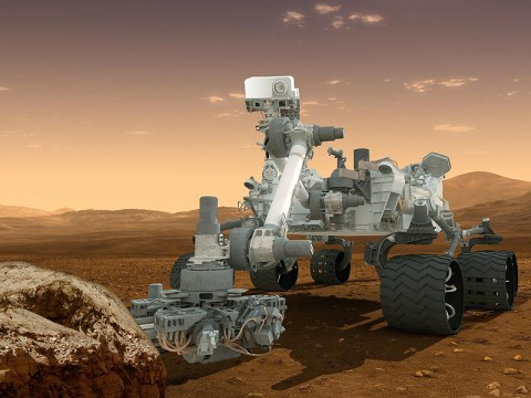 This artist's concept features NASA's Mars Science Laboratory Curiosity rover, a mobile robot for investigating Mars' past or present ability to sustain microbial life. (Image credit: NASA/JPL-Caltech)