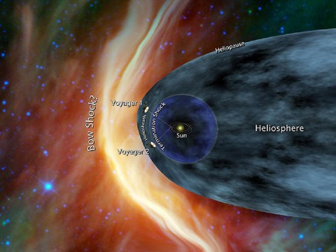 This artist's concept shows NASA's two Voyager spacecraft exploring a turbulent region of space known as the heliosheath, the outer shell of the bubble of charged particles around our sun. (Image credit: NASA/JPL-Caltech)