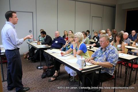 Chuck Sambuchino speaking to aspiring writers at the 2012 Clarksville Writer's Conference