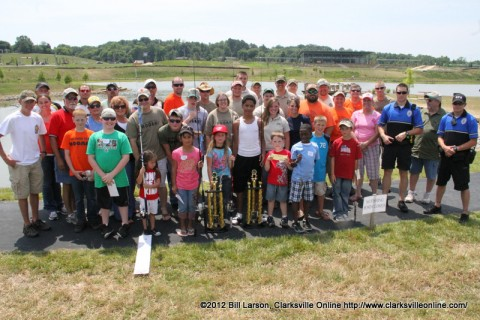 Some of the 400+ kids who fished in the TWRA's 2012 Youth Fishing Rodeo at Liberty Park in Clarksville, Tennessee