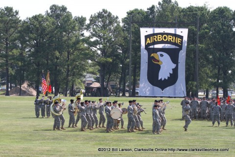 The 101st Airborne Division Band parades before the soldiers of the 101st Sustainment Brigade