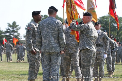 Col. Michael Peterman gives up Command of the 101st Sustainment Brigade to Maj. Gen. James C. McConville