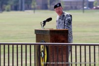 Maj. James C. McConville delivers his remarks at the Change of Command Ceremony for the 101st Sustainment Brigade