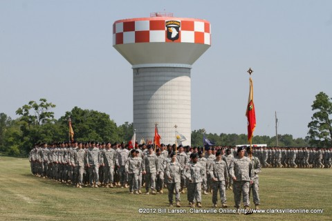 The 101st Sustainment Brigade passes in review