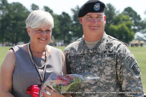 Outgoing Commander Col. Michael P. Peterman and his wife Kathy