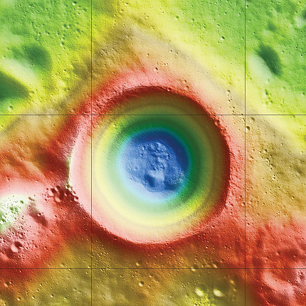 This is an elevation map of Shackleton crater made using LRO Lunar Orbiter Laser Altimeter data. The false colors indicate height, with blue lowest and red/white highest. (Credit: NASA/Zuber, M.T. et al., Nature, 2012)