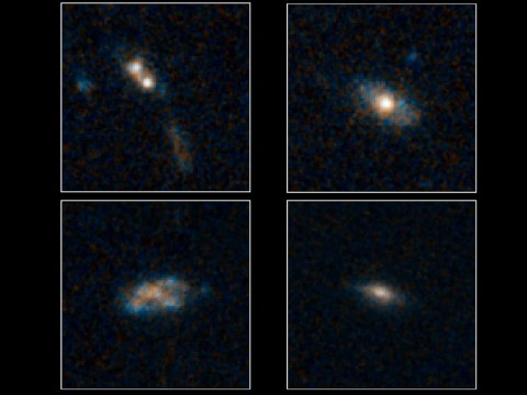 The galaxies pictured here have so much dust surrounding them that the brilliant light from their quasars cannot be seen in these images NASA's Hubble Space Telescope. Quasars are the brilliant beacons of light that are powered by black holes feasting on captured material, and in the process, heating some of the matter to millions of degrees. (Image credit: NASA/ESA/Yale)