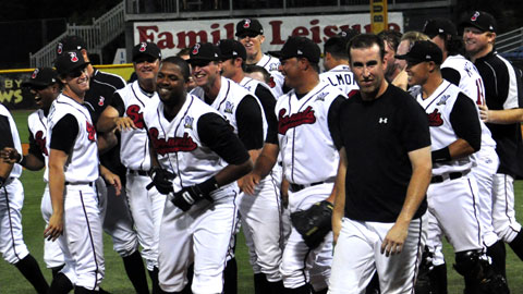 Nashville Sounds players congradulate Andy Gonzalez on his game winner home run. (Mike Strasinger / Nashville Sounds)
