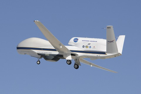 NASA's Global Hawk soars aloft from Edwards Air Force Base, Calif. The NASA Global Hawk is well-suited for hurricane investigations because it can over-fly hurricanes at altitudes greater than 60,000 feet with flight durations of up to 28 hours - something piloted aircraft would find nearly impossible to do. (Credit: NASA/Tony Landis)