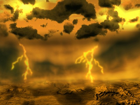Artist concept of lightning on Venus. (Image credit: ESA)