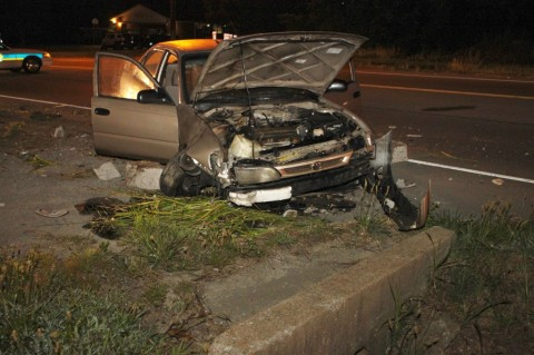 Toyota Corolla that crashed on Ashland City Road early Tuesday Morning, June 19th. (Photo by CPD-Jim Knoll)
