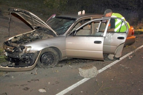 Toyota Corolla that crashed on Ashland City Road early Tuesday Morning. (Photo by CPD-Jim Knoll)