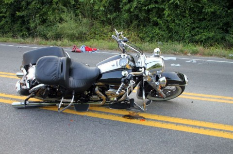 Harley motorcycle involved in a vehicle crash Friday morning. (Photo by CPD-Jim Knoll)