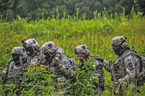 Soldiers and Leaders from Headquarters and Headquarters Company, 1st Battalion, 502nd Infantry Regiment, 2nd Brigade Combat Team, 101st Airborne Division (Air Assault) and the brigade staff, evacuate casualties to an exfil point during a weekly training exercise called Talon Shock, July 12th held at Fort Campbell, KY. (U.S. Army photo by Sgt. Joe Padula, 2nd BCT PAO, 101st Abn. Div.)