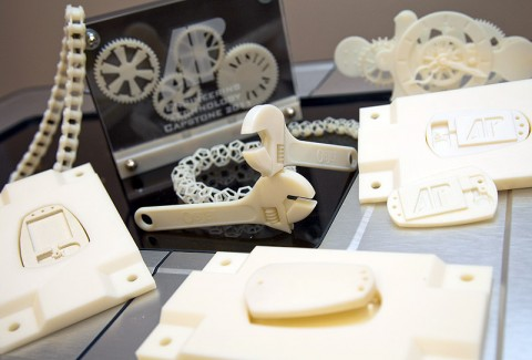 This photo shows many of the items engineering technology students at APSU have made using new three-dimensional printers. (Photo by Beth Liggett, APSU photographer)