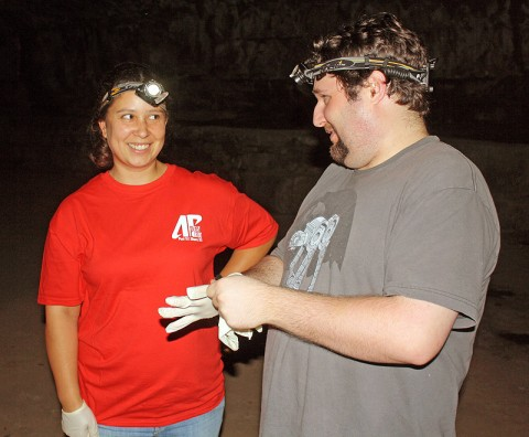 APSU graduate student Veronica Mullen and former APSU graduate student Josh Schulte prepare for a night of monitoring bats at Dunbar Cave.
