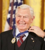 President George W. Bush presents the Presidential Medal of Freedom to actor Andy Griffith, one of  14 recipients of the 2005 Presidential Medal of Freedom, awarded Wednesday, Nov. 9th, 2005 in the East Room. (White House photo by Paul Morse)