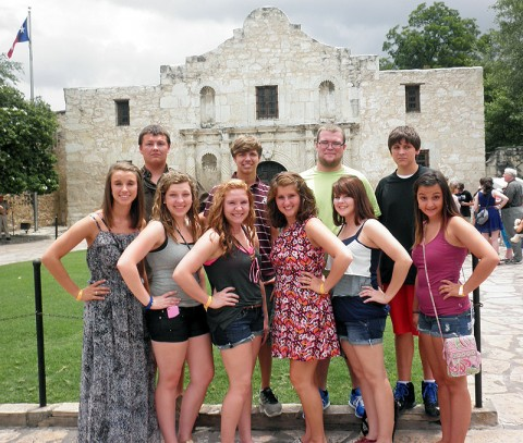 Stewart County High School students in front of the Alamo in San Antonio, TX.