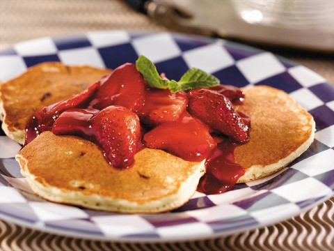Chocolate Chip Pancakes with Mixed Berry Sauce