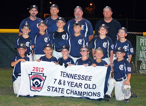 Clarksville National wins State Tournament. Pictured from L-R. (First row) Ashton Hams, Lawrence Jennings, Patton Samuels, Ryan Murphy, Blake Greathouse, Logan Blackmon. (Second row) Caleb Bowman, Collin Pedigo, Cameron Greathouse, Watson Persinger, Connor Doughty, Bennett Mobley. (Back row) Coaches: Scott Samuels, Jimmy Blackmon (head coach), Lee Pedigo, Tony Hams.
