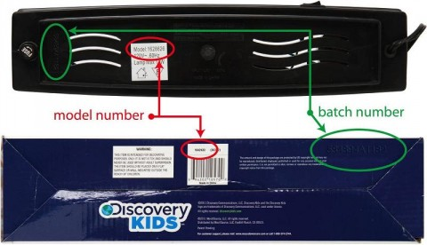 Model numbers can be found on stickers placed underneath the lamps and on the bottom of the packaging near the barcode.