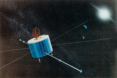 An artist's rendition of what Geotail looks like in space. (Credit: JAXA)