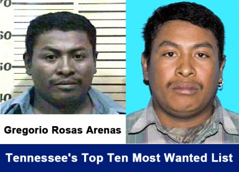 Gregorio Rosas Arenas now on Tennessee's Top Ten Most Wanted List for murder.